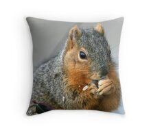 enjoying a snack Throw Pillow