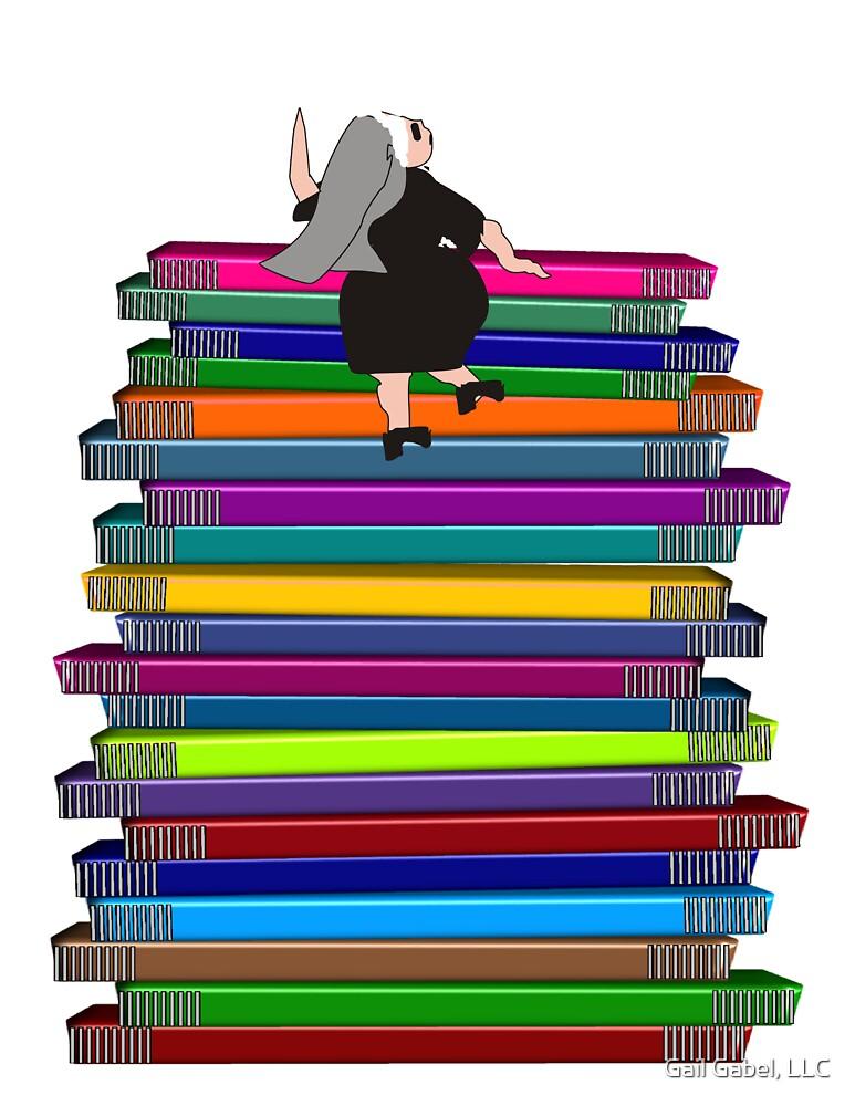"Whimsical Nun Art ""Nun and Books"" by Gail Gabel, LLC"