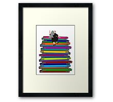 "Whimsical Nun Art ""Nun and Books"" Framed Print"