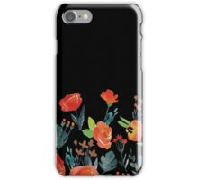 Black and Orange Watercolor Flowers iPhone Case/Skin