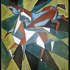 Cubist Horses by Bine
