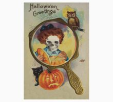 Lighting The Jack O' Lantern (Vintage Halloween Card) by Joseph Welte