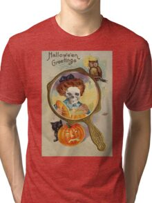 Lighting The Jack O' Lantern (Vintage Halloween Card) Tri-blend T-Shirt