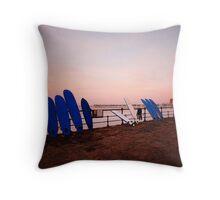 Saltburn, surfboards & sunset Throw Pillow