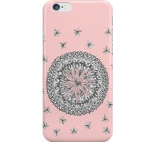 Mandala drawing with scattered flowers on pink iPhone Case/Skin