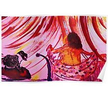 Wraping a shawl around her body, watercolor Poster