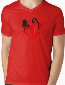 Jack and Meg White Mens V-Neck T-Shirt