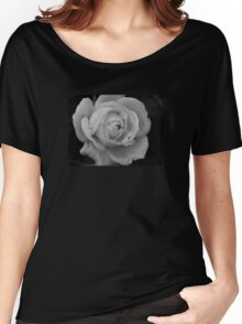B&W Rose With Droplets Women's Relaxed Fit T-Shirt