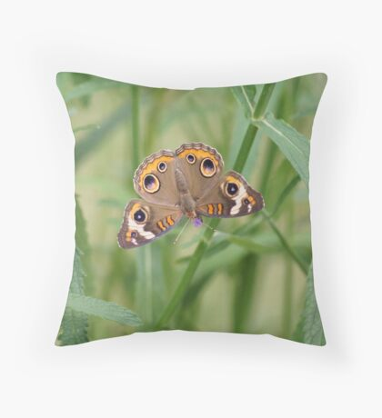Buckeye Butterfly and Verbena 2 Throw Pillow