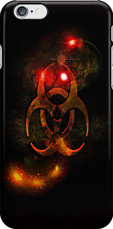 Biohazard Symbol on black - iPhone and iPod skin (smaller design) by Scott Mitchell