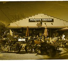 2 Harley Davidsons w/ Vintage Puckett's Grocery Store - Leipers Fork, TN  by Daniel  Oyvetsky