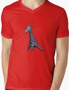 Blue Giraffe Mens V-Neck T-Shirt