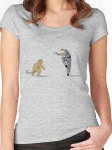Monkey Fu with Knife (detail) Women's Fitted Scoop T-Shirt