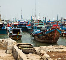 Colourful Boats of Nha Trang - Vietnam by Janette Anderson
