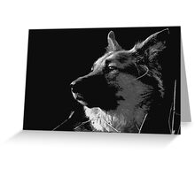 German Shepherd Black and White Greeting Card