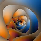 Spiral Labyrinth in Orange and Blue by Objowl