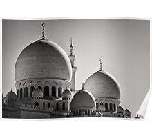 Sheikh Zayed Mosque in Monochrome - UAE Poster