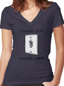 Music On World Off Women's Fitted V-Neck T-Shirt