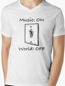 Music On World Off Mens V-Neck T-Shirt