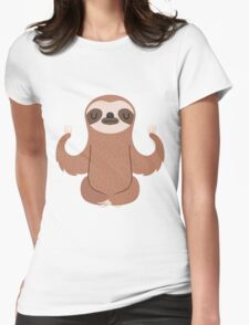 Sloth doing yoga Womens Fitted T-Shirt