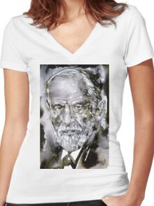 SIGMUND FREUD - watercolor portrait.7 Women's Fitted V-Neck T-Shirt