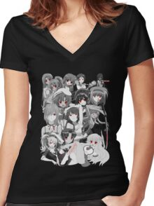Anime manga yandere and psycho characters Women's Fitted V-Neck T-Shirt