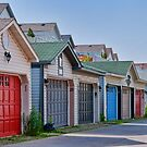 Colourful Garage Doors in the Beach by Gerda Grice