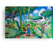 Raccoon Mario Watercolor Canvas Print