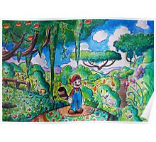 Raccoon Mario Watercolor Poster