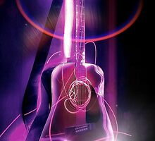 Ultraviolet Fender Acoustic Guitar by martin bullimore