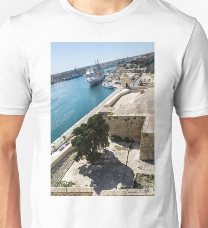 Valletta Grand Harbour - High Noon Shadows and Cruise Ships Unisex T-Shirt