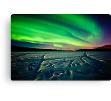 Beach Lake Aurora Canvas Print