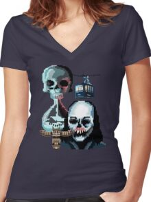 Pixel Until Dawn Women's Fitted V-Neck T-Shirt