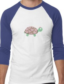 Cute Turtle with hearts and pink ribbon Men's Baseball ¾ T-Shirt