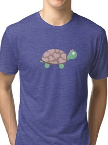 Cute Turtle with hearts and pink ribbon Tri-blend T-Shirt