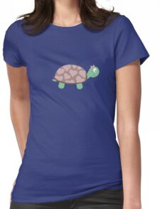 Cute Turtle with hearts and pink ribbon Womens Fitted T-Shirt