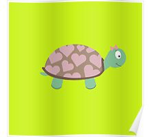 Cute Turtle with hearts and pink ribbon Poster
