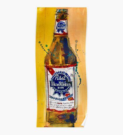 Pabst Blue Ribbon Beer Bottle Poster