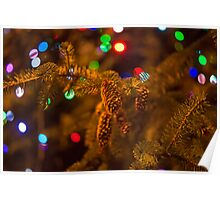 Pine cone with Christmas lights Poster