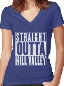Straight Outta Hill Valley Women's Fitted V-Neck T-Shirt