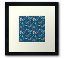 Autumn pattern. Design elements includes umbrella, mushrooms, coffee cup, sweater. Cute hand drawn background Framed Print