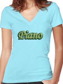 Cool Piano Women's Fitted V-Neck T-Shirt