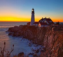 Portland Head Light Day Break, Cape Elizabeth, ME by Stephen Cross Photography