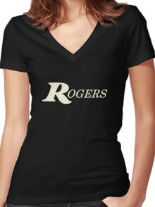 Rogers White Women's Fitted V-Neck T-Shirt