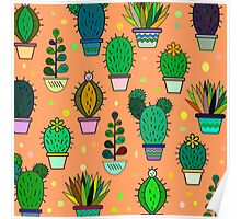 Cute handdrawn floral background with cactuses and succulents in pots. Vector botanical background.  Poster