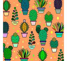 Cute handdrawn floral background with cactuses and succulents in pots. Vector botanical background.  Photographic Print