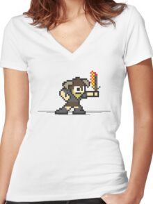 8 Bit Dragonborn Women's Fitted V-Neck T-Shirt