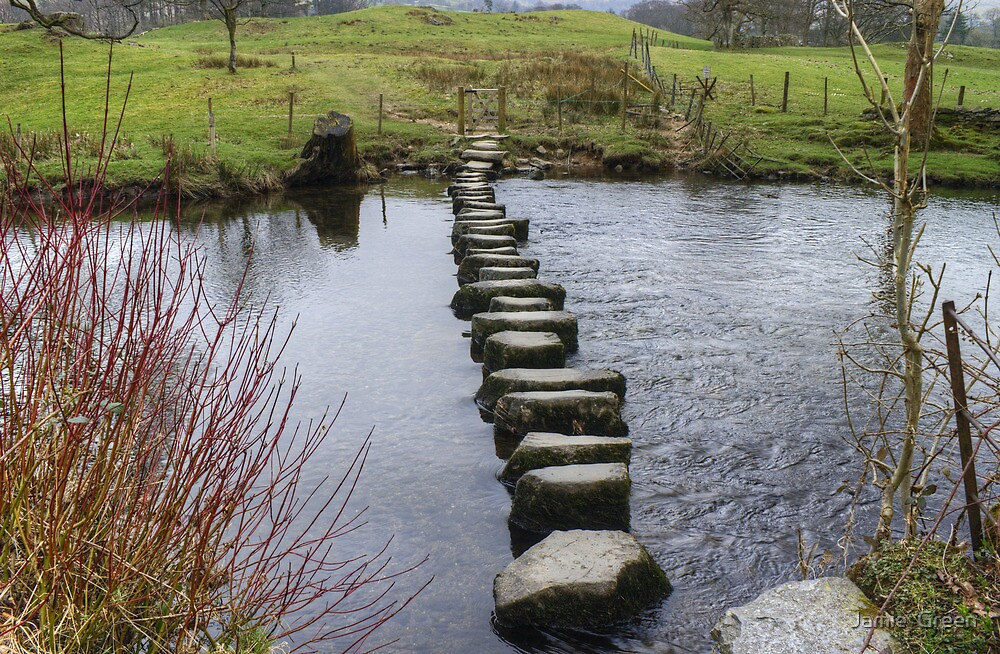 A Walk By Mere,Tarn and Water - Rothay Stepping Stones by Jamie  Green