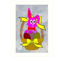Bunny in a Basket Greeting Card Art Print