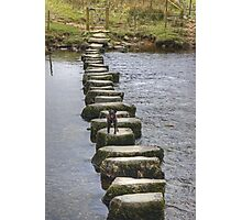 A Walk By Mere,Tarn and Water - Small Dog,Big Steps Photographic Print